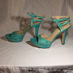 Teal blue 4 inch leather heels, designed in Italy
